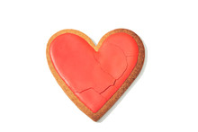 Decorated Heart Shaped Cookie With Cracks On White Background, Top View