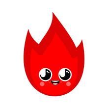 Fire Element Cute Kawaii Isolated. Funny Flames Cartoon Style. Kids Character. Childrens Style.