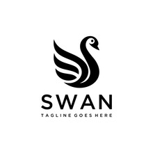 Simple Luxury  Swan Logo Design Template