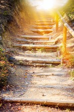 Walk Into Light  .  Stairs In Autumn Park .  Way To Heaven . Stairs In Sky . Religion For The Person . Religious Background . Way To Success
