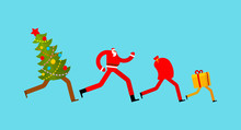 Christmas Runs. Gift Delivery. Santa And Christmas Tree Running. Xmas And New Year Vector Illustration