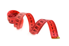 Red Measuring Tape Isolated On White Background. Measuring Tape For Fitness . Close Up