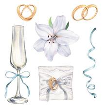 1. Wedding Set With Lilies, Gl...