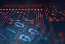Abstract Technology Background With Digital Data Binary Code And Electronic Circuit Board (PCB) Microchip Processing Information Signal, Hi-tech And Robotic Automation Concept