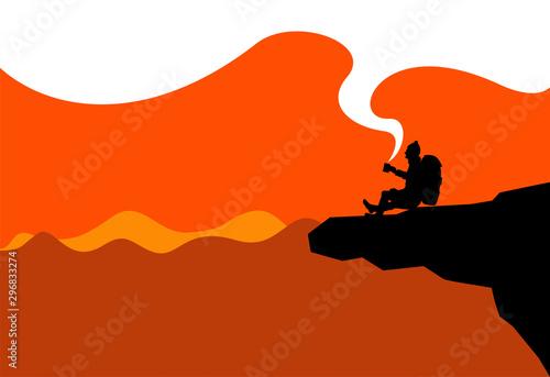 silhouette, sagoma, trekking, pausa, relax, pace, bivacco, ristoro Wallpaper Mural