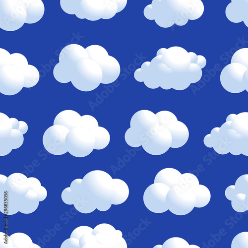 Fototapeten Künstlich Vector Cloud seamless pattern. Natural air with fluffy cloudscape, atmosphere repeated decorative design. Vector flat style cartoon illustration