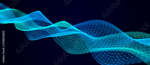 Photo sur Toile Abstract wave Wave of musical sounds. Abstract background with interweaving of dots and lines. 3D rendering.