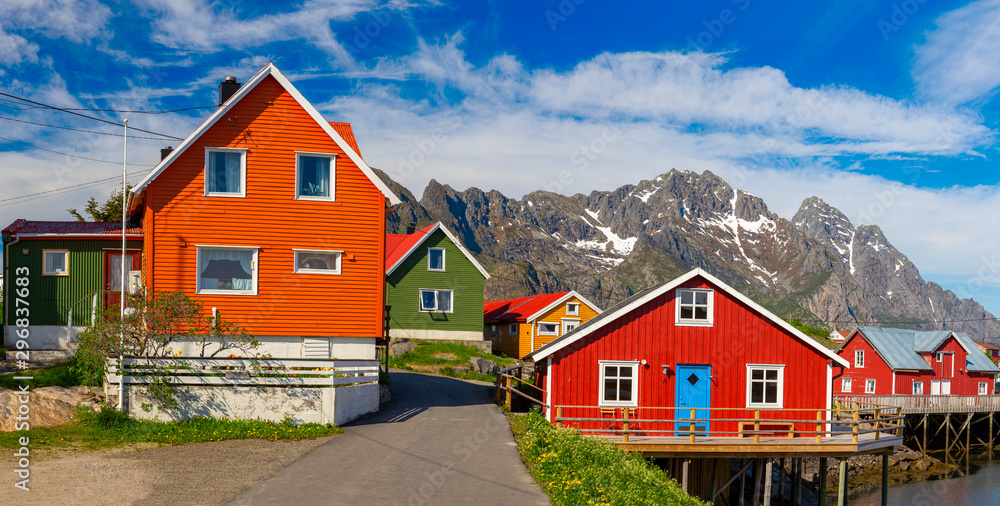 Fototapeta Henningsvaer village, Lofoten Islands, Norway, The Colorful Building Of Norway