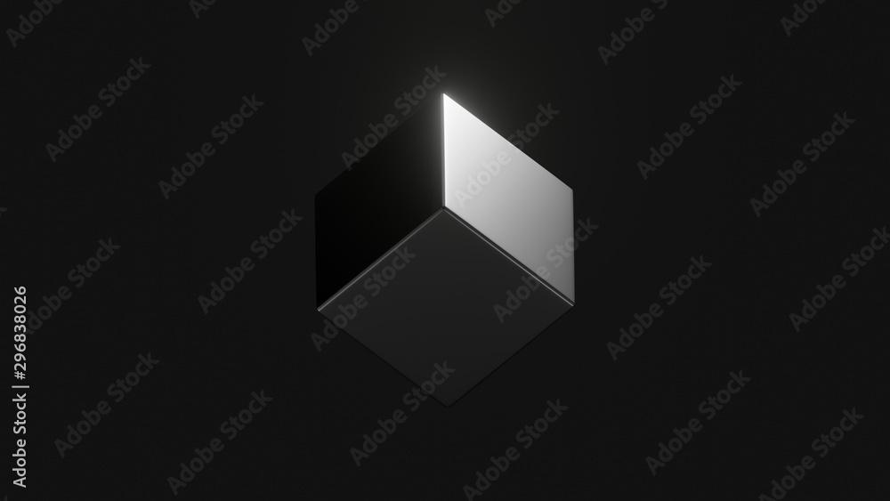 Fototapeta black cube on isometric view in dark space