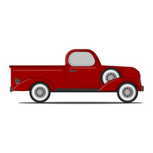 Classic Red Retro Pickup Truck. Vector Illustration