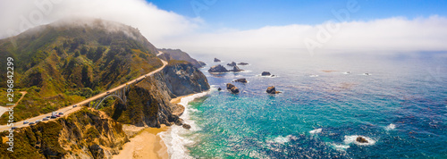 Fototapeta Arial view of the California Bixby bridge in Big Sur in the Monterey County along side State Route 1 US, the ocean road