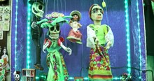 Colorful Mexican Dancing Puppets. Traditional Folk Art Marionettes In National Costumes. Day Of The Dead Celebration Symbols.