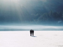 Silhouette Of Couple Walking I...