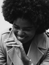 Monochrome Portrait Of Woman With Afro Hair Style