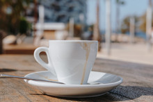 Close Up View Of Cup And Saucer