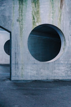 Architectural View Of Concrete Wall With Hole