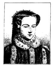 Queen Mary Tudor Vintage Illustration.