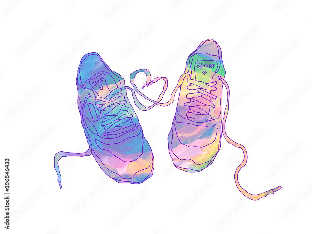 watercolor fashion sneakers. fashion illustration. <span>plik: #296846433 | autor: Natalia Flurno</span>