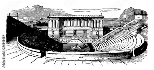 Valokuva  Theater of Segesta is one of the first Greek amphitheaters vintage engraving