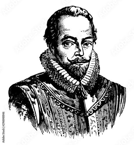 Fotografia Sir Walter Raleigh vintage illustration