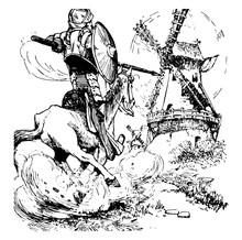 Don Quixote Vintage Illustration