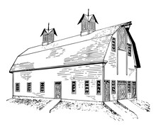 Dairy Barn Agricultural Building Barn Refers Vintage Engraving.