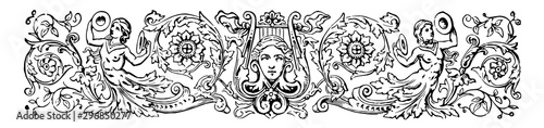 Angelic Banner have two angels and a face in the middle of the image vintage engraving Fototapet