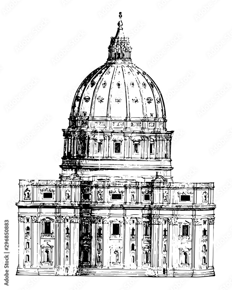 Fototapety, obrazy: Back View of St. Peter Rome dome vintage engraving.