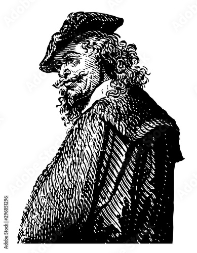 Rembrandt Van Rhyn vintage illustration Tapéta, Fotótapéta