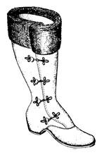 Single Boot Vintage Engraving.