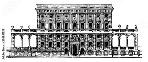 Fototapeta Façade of the Tursi to Doria Palace at Genoa vintage engraving.