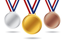 Gold, Silver, Bronze Medals. 3d Award Medal For 1st, 2nd, 3nd Place. Blank Insignia Of Medal With Red, White, Blue Ribbon For Victory Of Winner. Champion Reward. Design Honor Medal Isolated. Vector