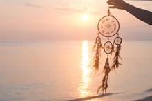 Dreamcatcher, On Sunrise Sea Background, Magical Indian Shaman Amulet, Mystical.