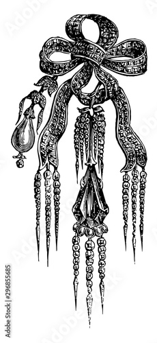Fotografia Brooch knot of diamonds vintage engraving.