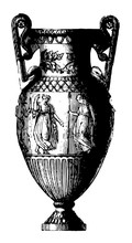 Amphora Is A Grecian Vase With Two Handles Vintage Engraving.