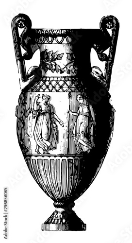 Amphora is a Grecian vase with two handles vintage engraving. Wallpaper Mural