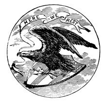 The Official Seal Of The U.S. State Of Alabama In 1889 Vintage Illustration