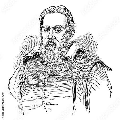 Fotomural Galileo Galilei, vintage illustration