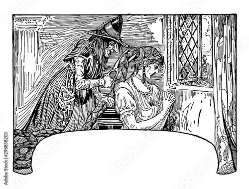 Rapunzel vintage illustration Canvas Print
