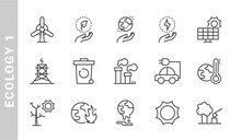 Ecology 1 Icon Set. Outline Style. Each Made In 64x64 Pixel