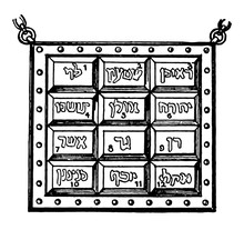Hebrew Breastplate Vintage Illustration