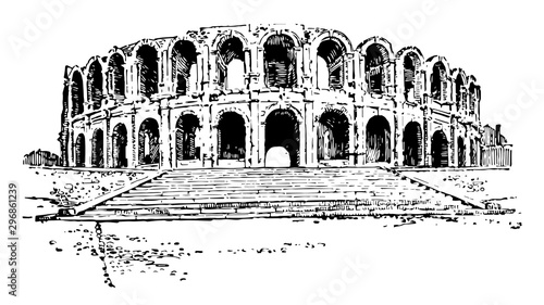 Amphitheater of Arles a Roman amphitheatre in the southern French town vintage engraving Canvas Print