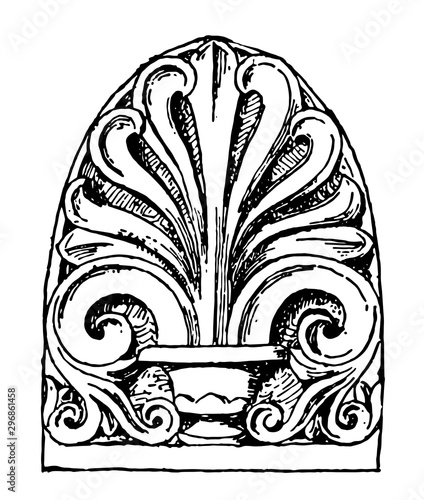 Fotografia Anthemion have Ancient Rome carved pattern vintage engraving.