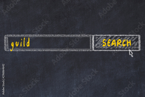Chalkboard drawing of search browser window and inscription guild Wallpaper Mural