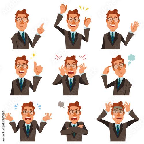 Fotografering スーツとメガネを着けたビジネスマンのバストアップ、様々な表情9種類