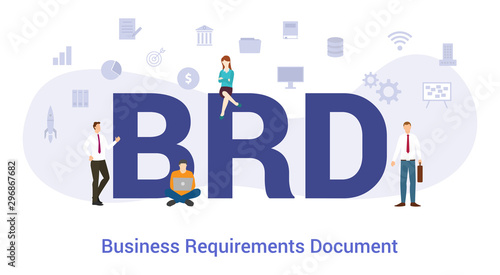 Photo brd business requirements document concept with big word or text and team people