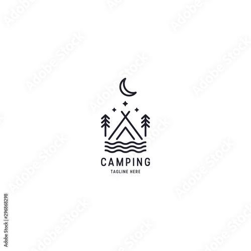 Fotomural  Outdoor Logo of Camping And Adventure