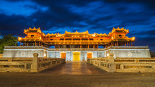 Imperial City Entrance Night Time. Citadel Historical Building And Vietnamese Landmark In The Old City Of Hue Vietnam