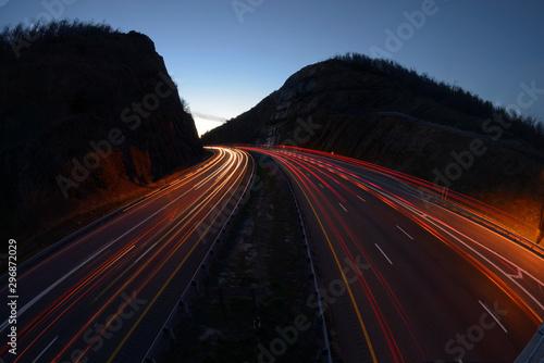 Fototapeta Tail lights red streak