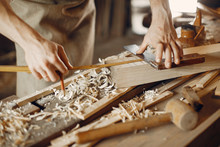 Man Working With A Wood. Carpe...